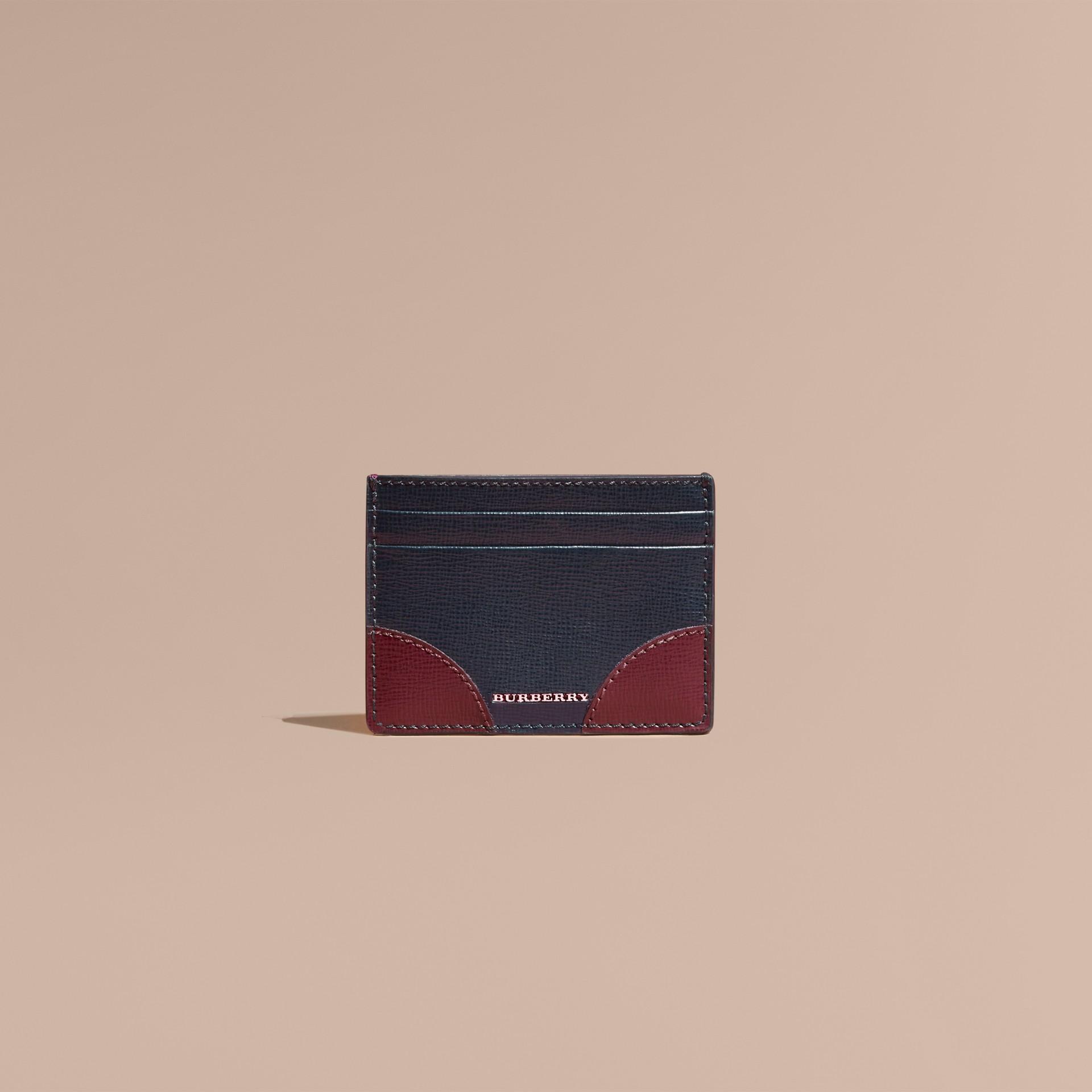 Contrast Corner London Leather Card Case in Dark Navy - gallery image 2