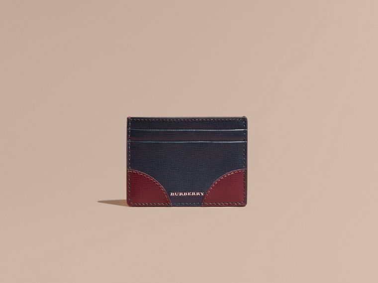 Contrast Corner London Leather Card Case in Dark Navy - cell image 1