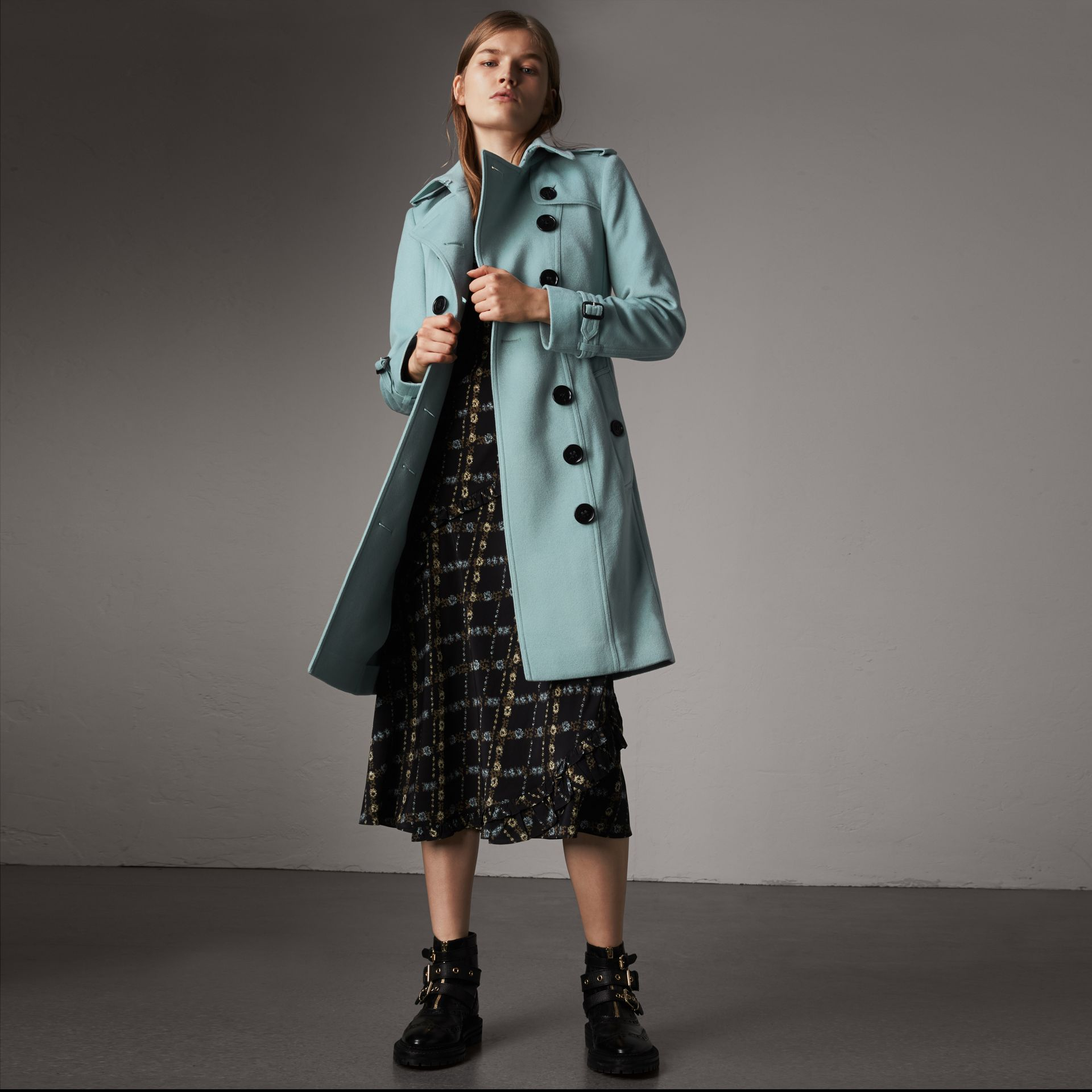 Sandringham Fit Cashmere Trench Coat in Pale Mineral Blue - Women | Burberry - gallery image 0