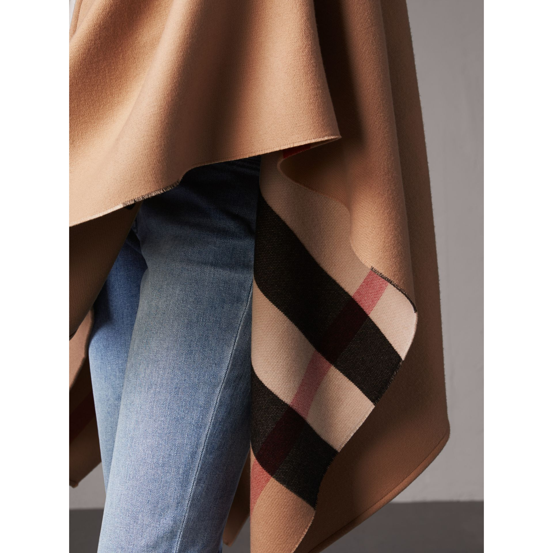 Reversible Check Merino Wool Poncho in Camel - Women | Burberry - gallery image 2