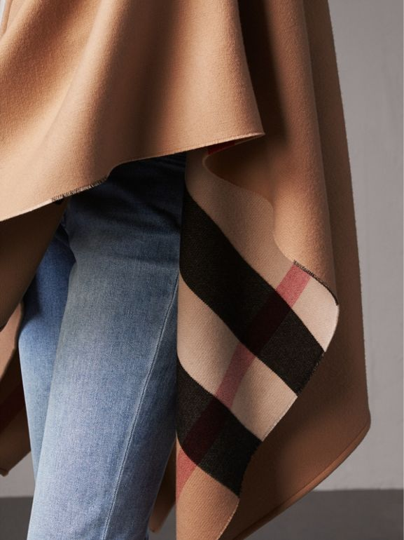 Reversible Check Merino Wool Poncho in Camel - Women | Burberry - cell image 1