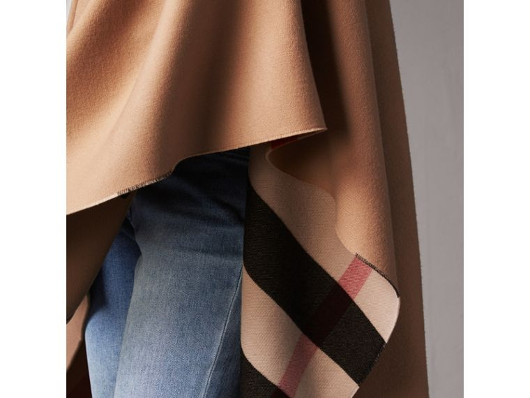 Reversible Check Merino Wool Poncho in Camel - Women | Burberry Australia - cell image 1