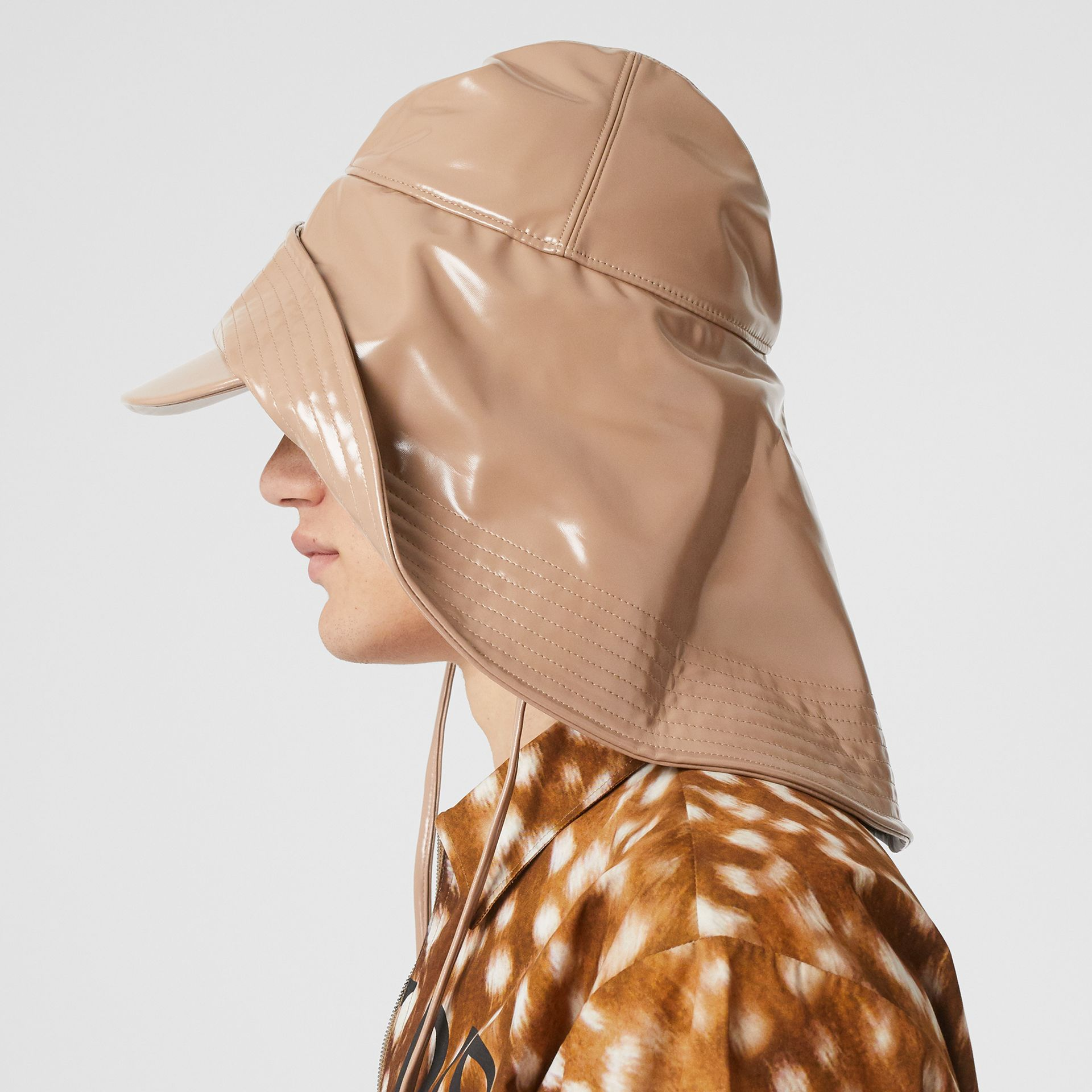 Rubberised Rain Hat in Toffee | Burberry Hong Kong - gallery image 3