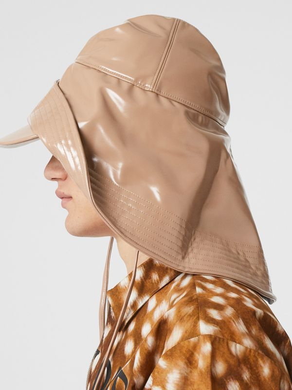 Rubberised Rain Hat in Toffee - Men | Burberry - cell image 3