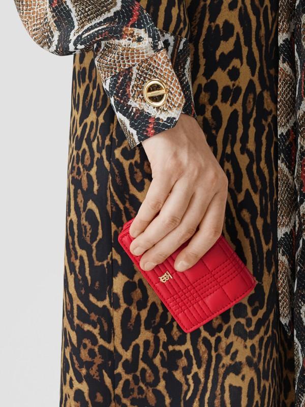 Porta-cartões acolchoado em pele de cordeiro com alça removível (Vermelho Intenso) | Burberry - cell image 2