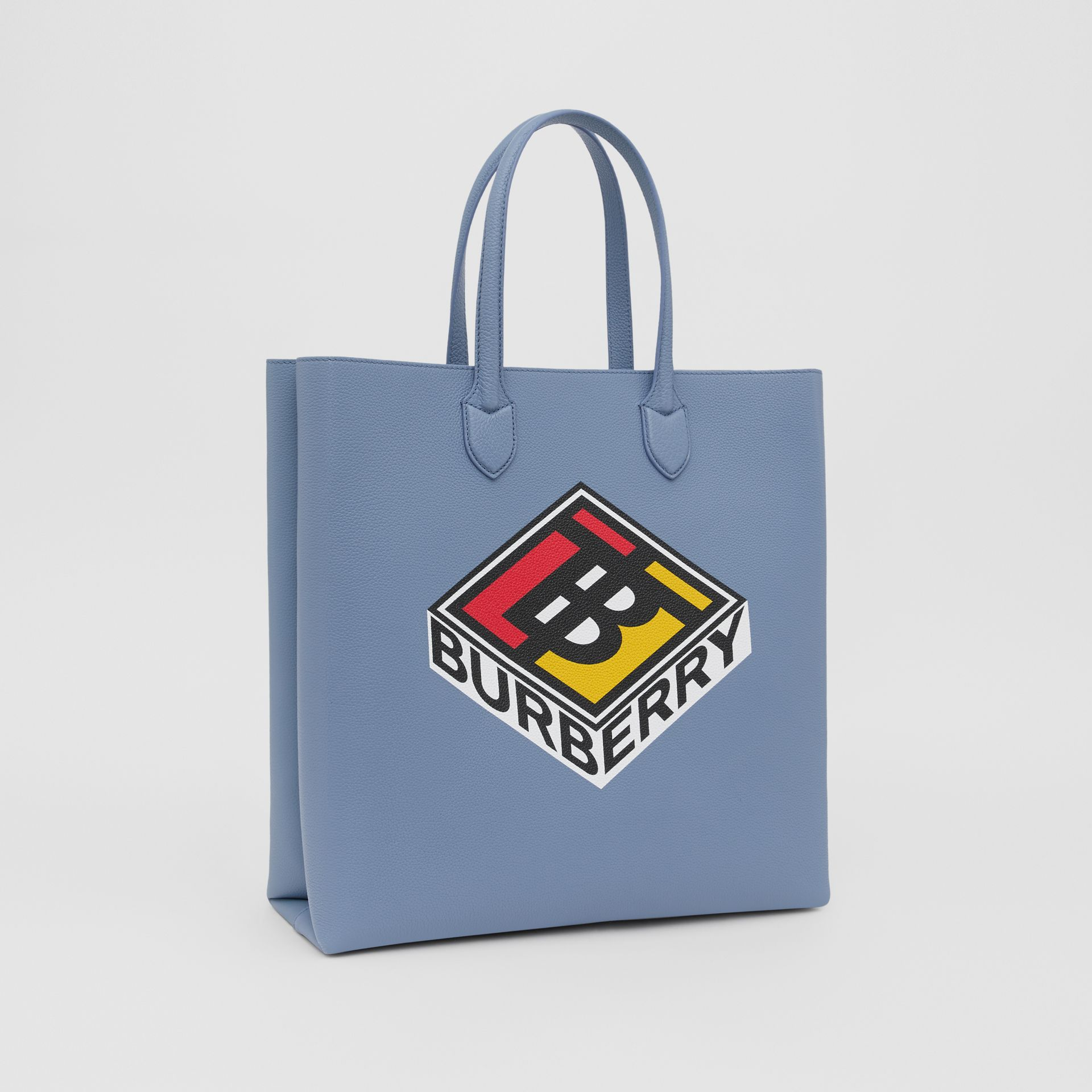 Large Logo Graphic Grainy Leather Tote in Baby Blue - Men | Burberry - gallery image 6