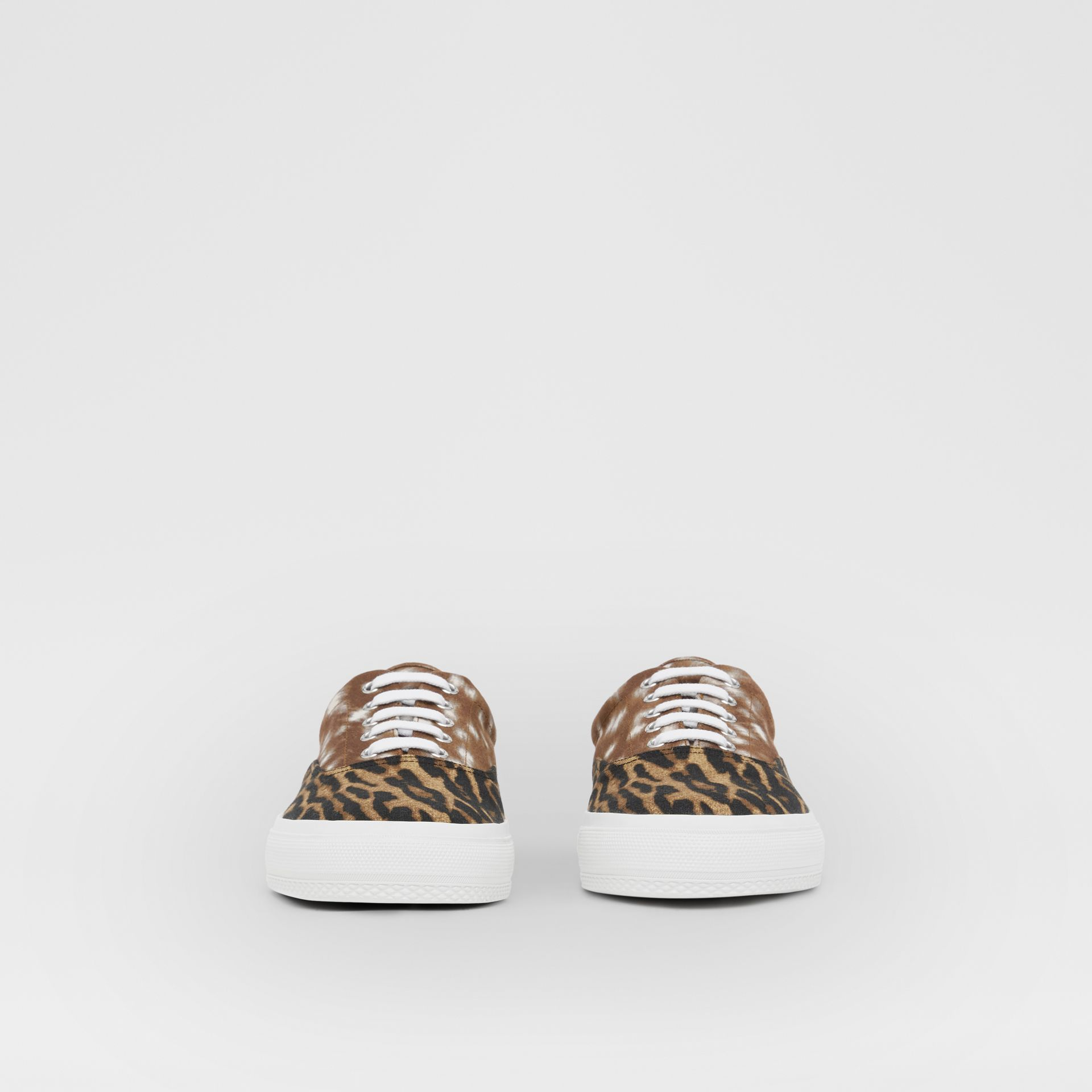 Animal Print Cotton Canvas Sneakers in Honey - Men | Burberry United Kingdom - gallery image 2