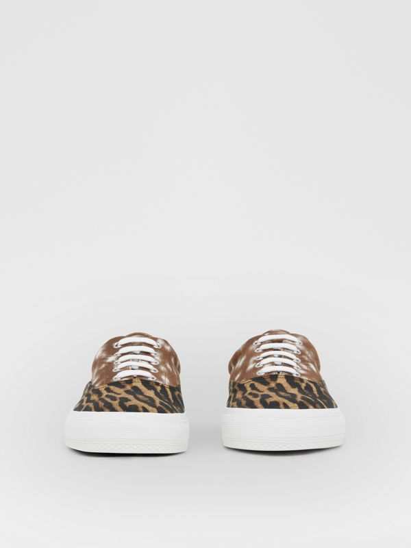 Animal Print Cotton Canvas Sneakers in Honey - Men | Burberry United Kingdom - cell image 2