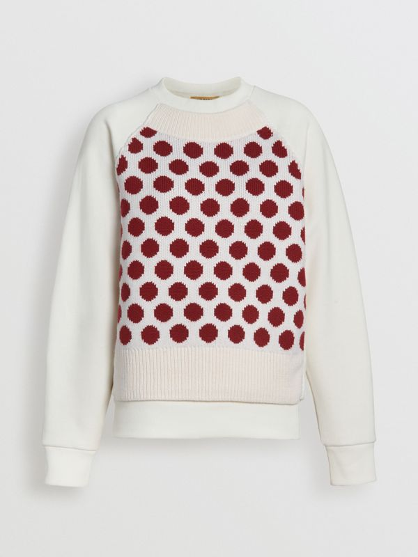 Spot Print Merino Wool and Jersey Sweater in White - Women | Burberry - cell image 3