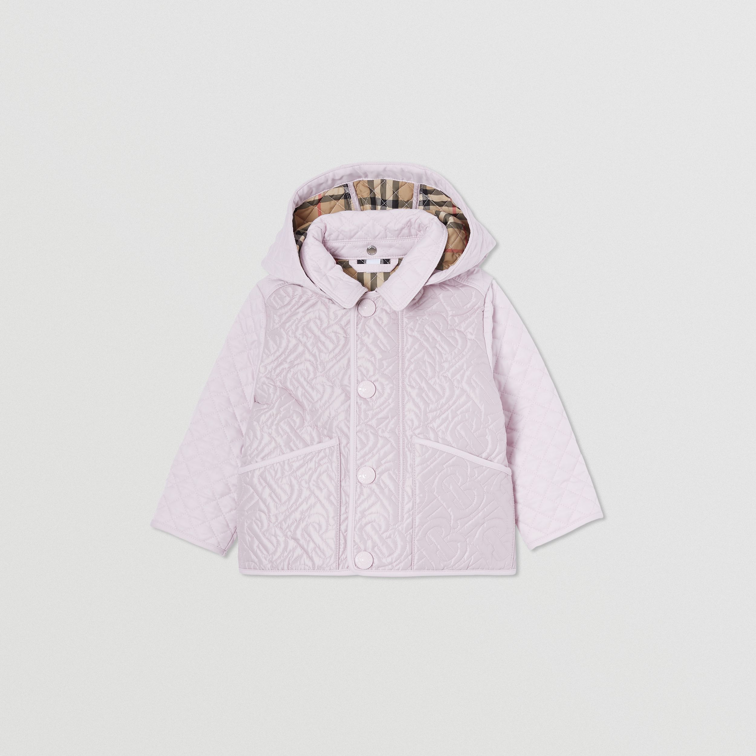 Detachable Hood Monogram Quilted Jacket in Pastel Pink - Children | Burberry Canada - 1
