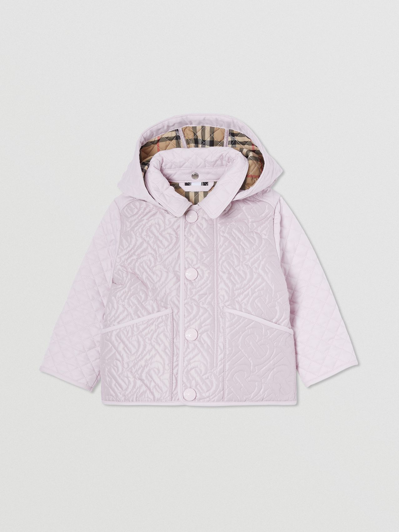 Detachable Hood Monogram Quilted Jacket in Pastel Pink