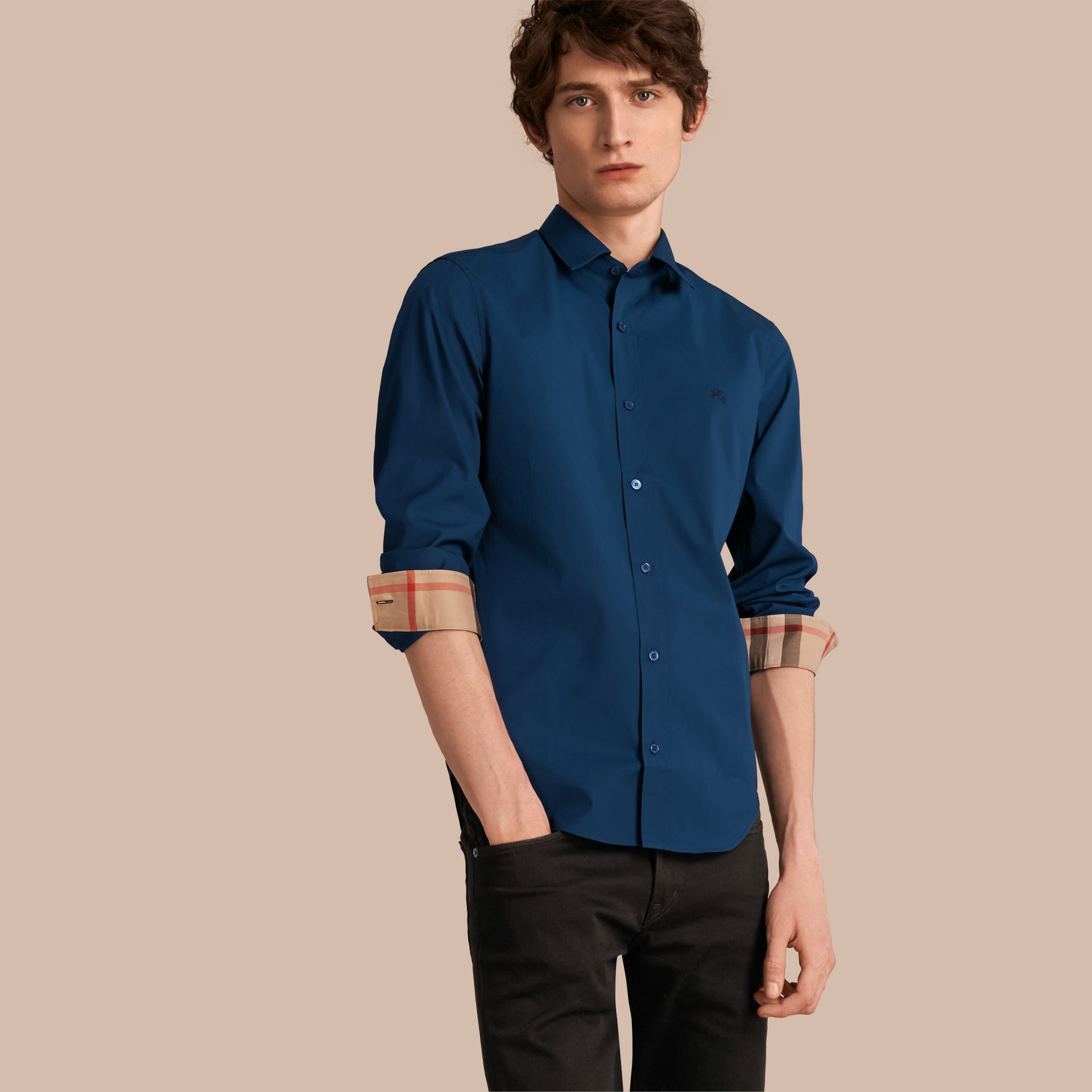Check Detail Stretch Cotton Poplin Shirt in Deep Teal Blue - Men | Burberry - gallery image 1