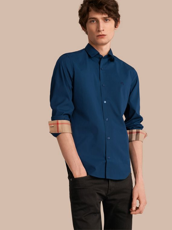 Check Detail Stretch Cotton Poplin Shirt in Deep Teal Blue