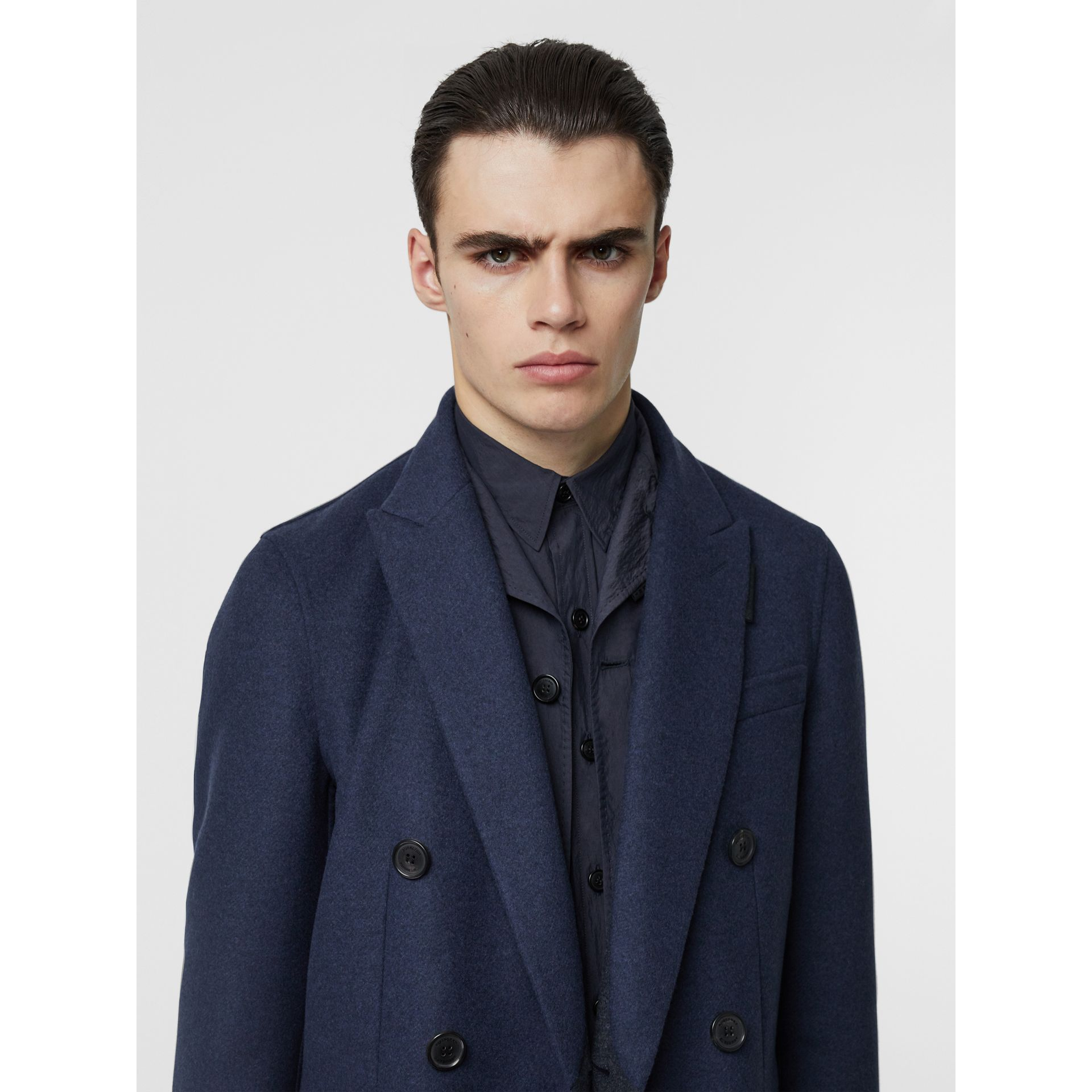 Double-faced Wool Cashmere Tailored Coat in Steel Blue Melange - Men | Burberry Canada - gallery image 1