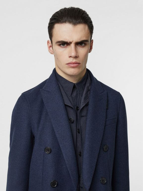 Double-faced Wool Cashmere Tailored Coat in Steel Blue Melange - Men | Burberry - cell image 1