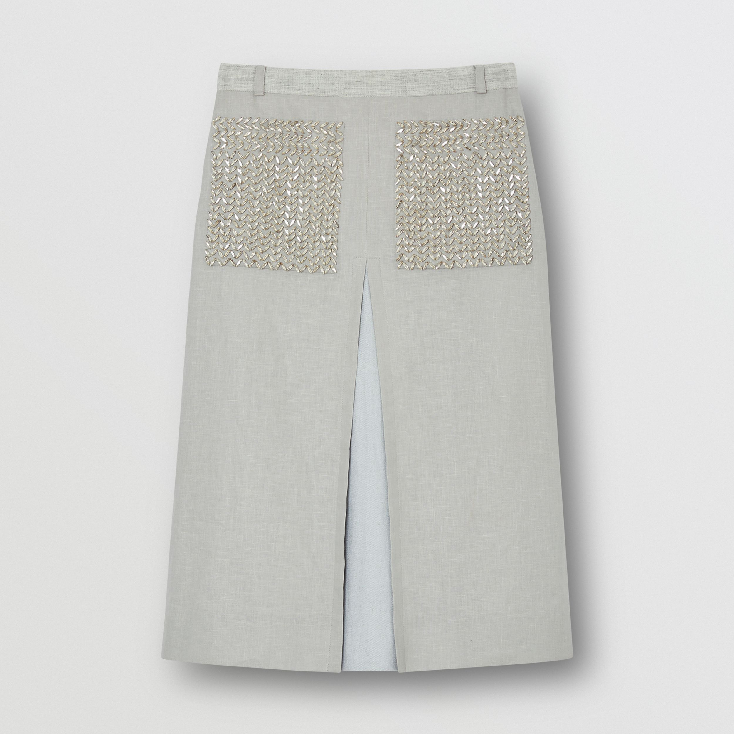 Crystal Embroidered Box-pleat Detail Linen A-line Skirt in Grey Melange - Women | Burberry - 4