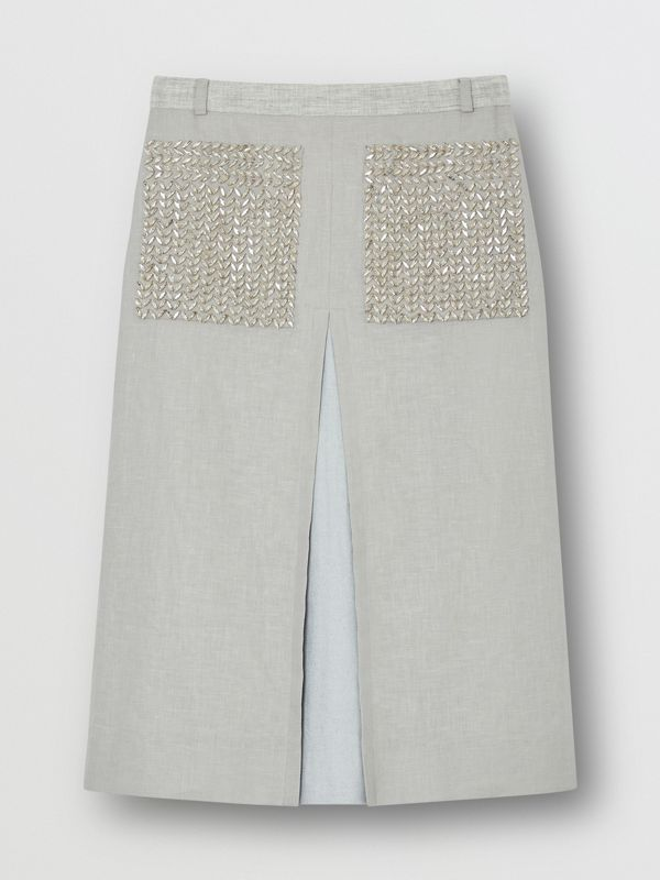 Crystal Embroidered Box-pleat Detail Linen A-line Skirt in Grey Melange - Women | Burberry - cell image 3