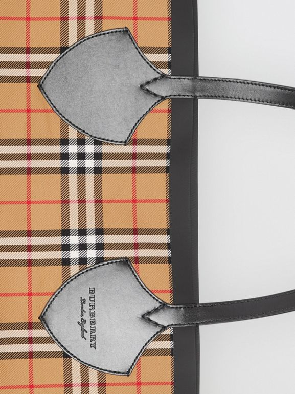 Borsa tote The Giant reversibile in cotone con motivo Vintage check (Giallo Antico) | Burberry - cell image 1