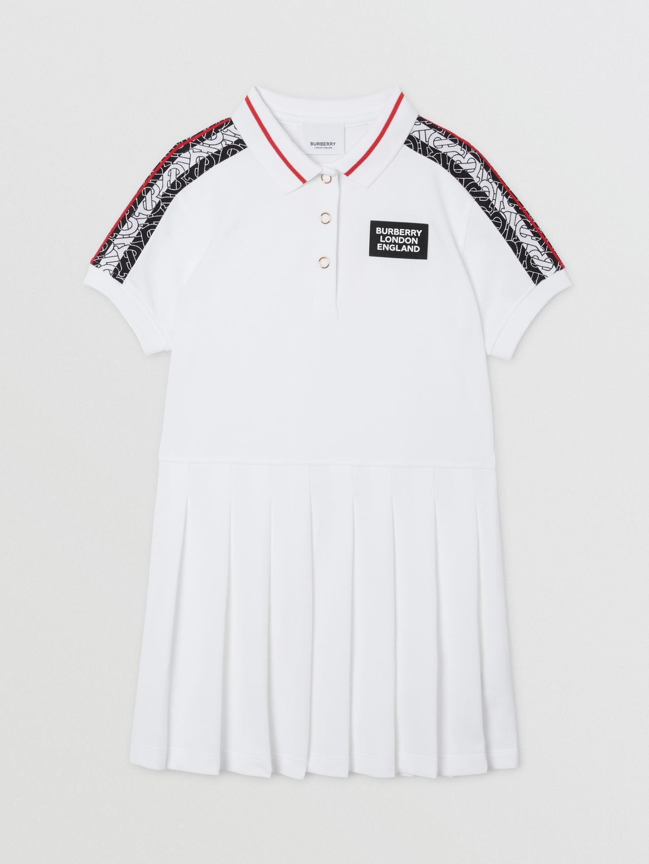 Monogram Stripe Print Cotton Piqué Polo Shirt Dress in White