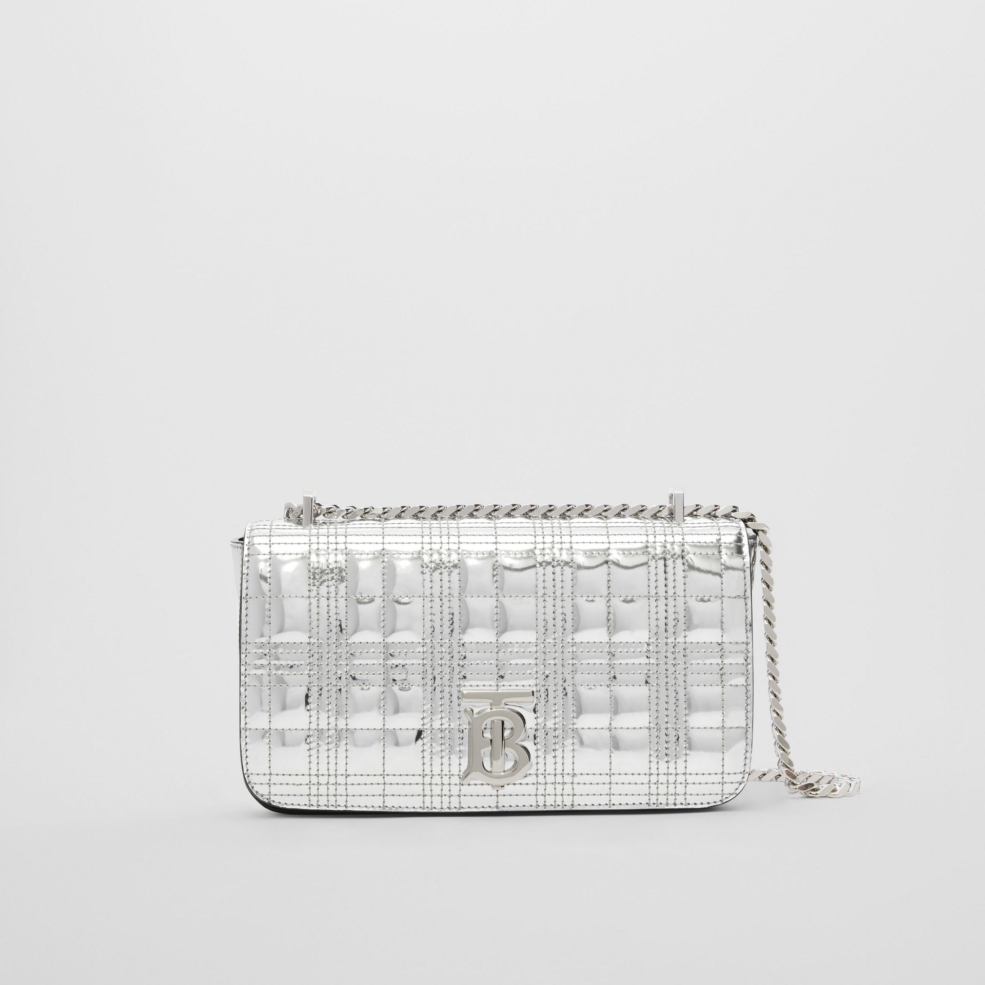 Small Quilted Metallic Leather Lola Bag in Silver - Women | Burberry United Kingdom - gallery image 0