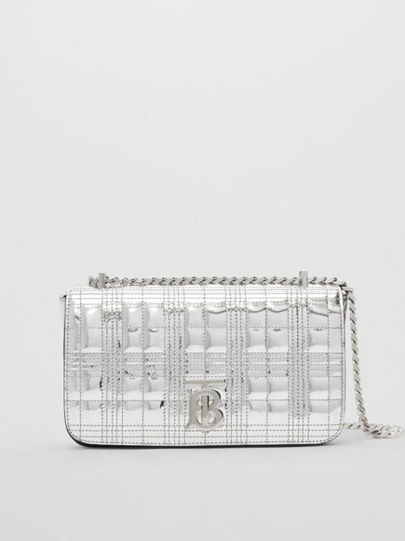 Bolsa Lola acolchoada em couro metalizado - Pequena (Prateado)