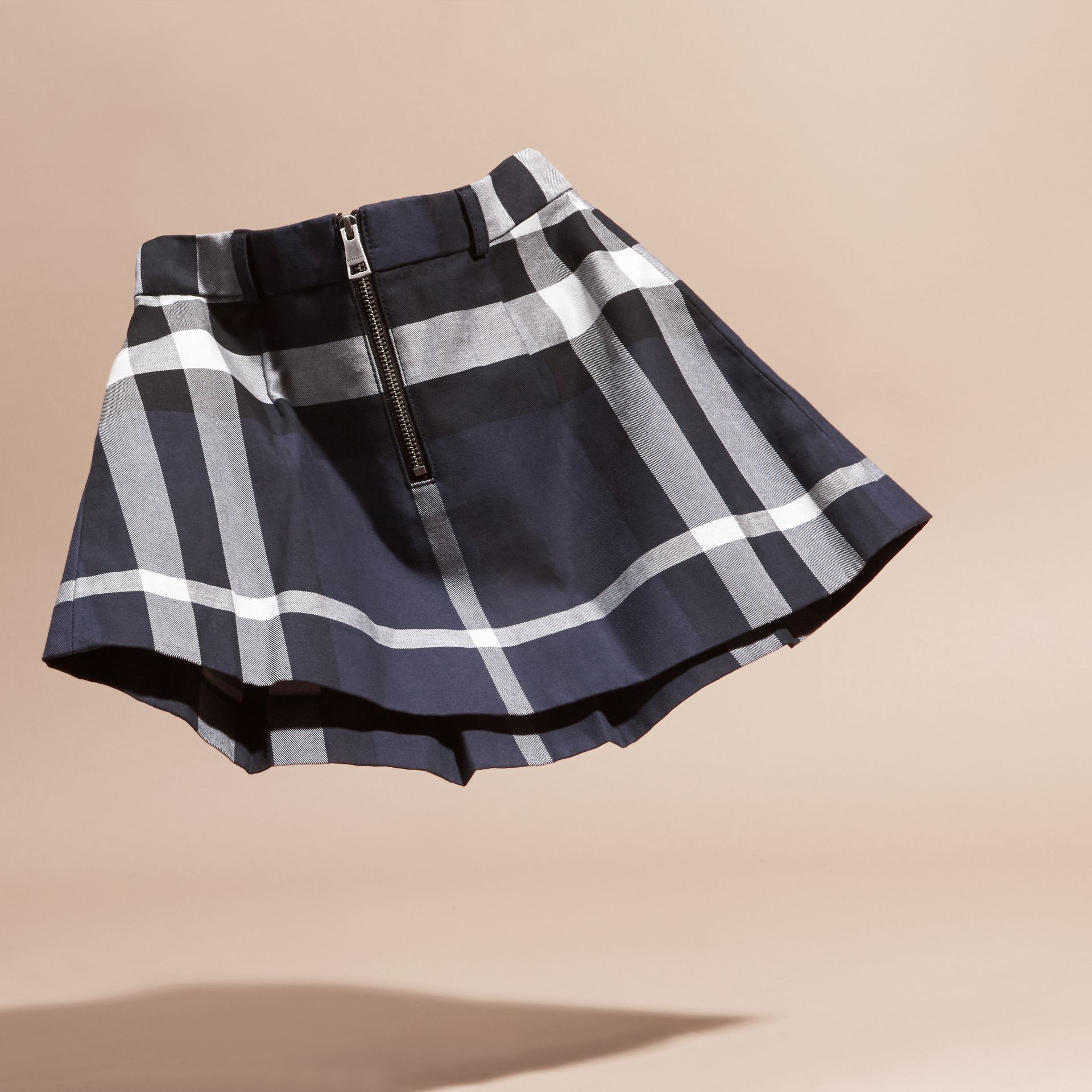 Pleated Check Cotton Skirt Navy - gallery image 4