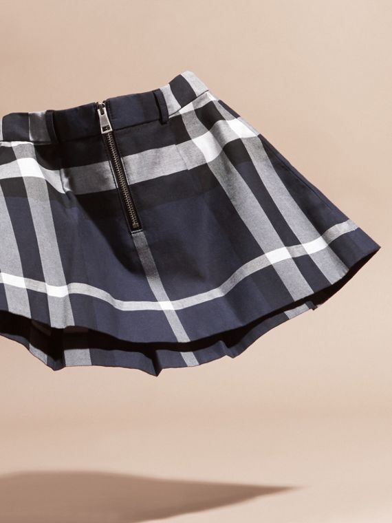 Pleated Check Cotton Skirt Navy - cell image 3