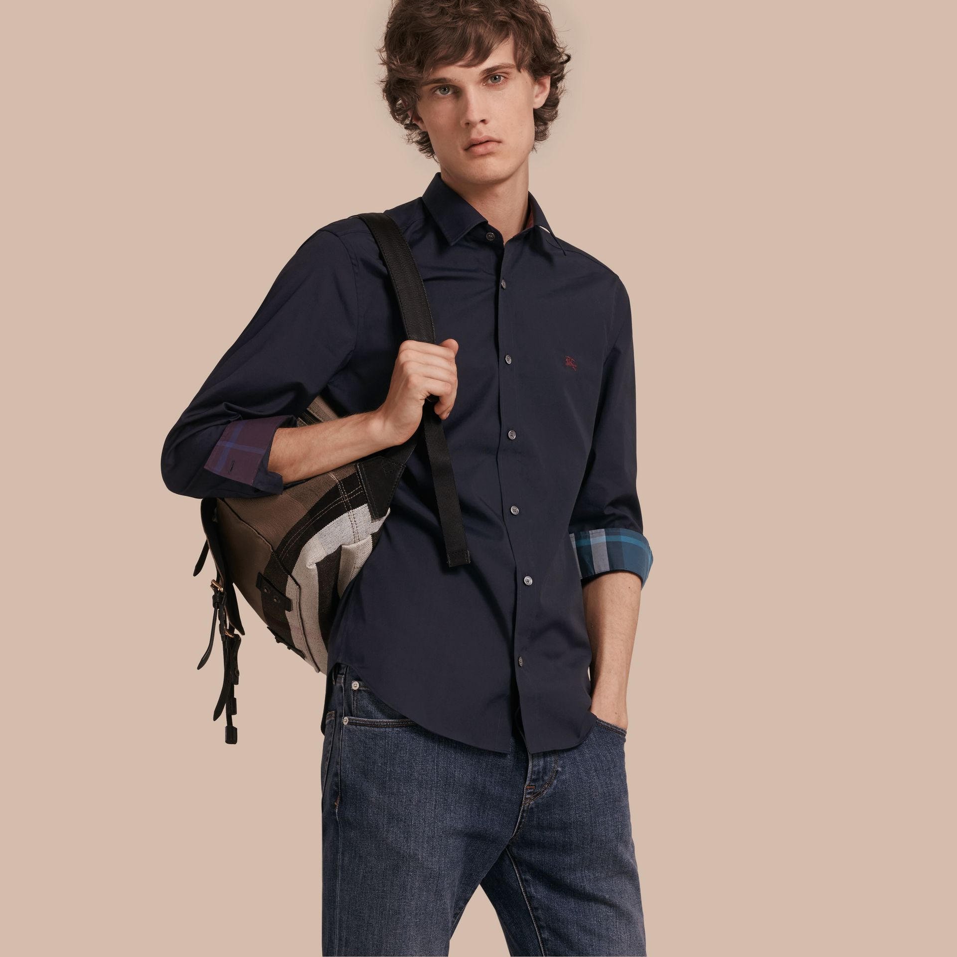 Check Detail Stretch Cotton Shirt Navy - gallery image 1
