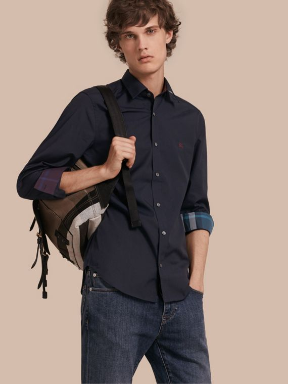 Check Detail Stretch Cotton Shirt in Navy