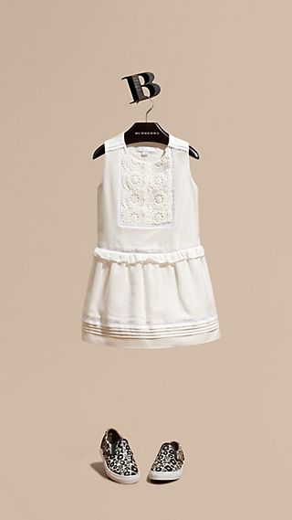 Lace Bib Cotton Silk Sleeveless Dress