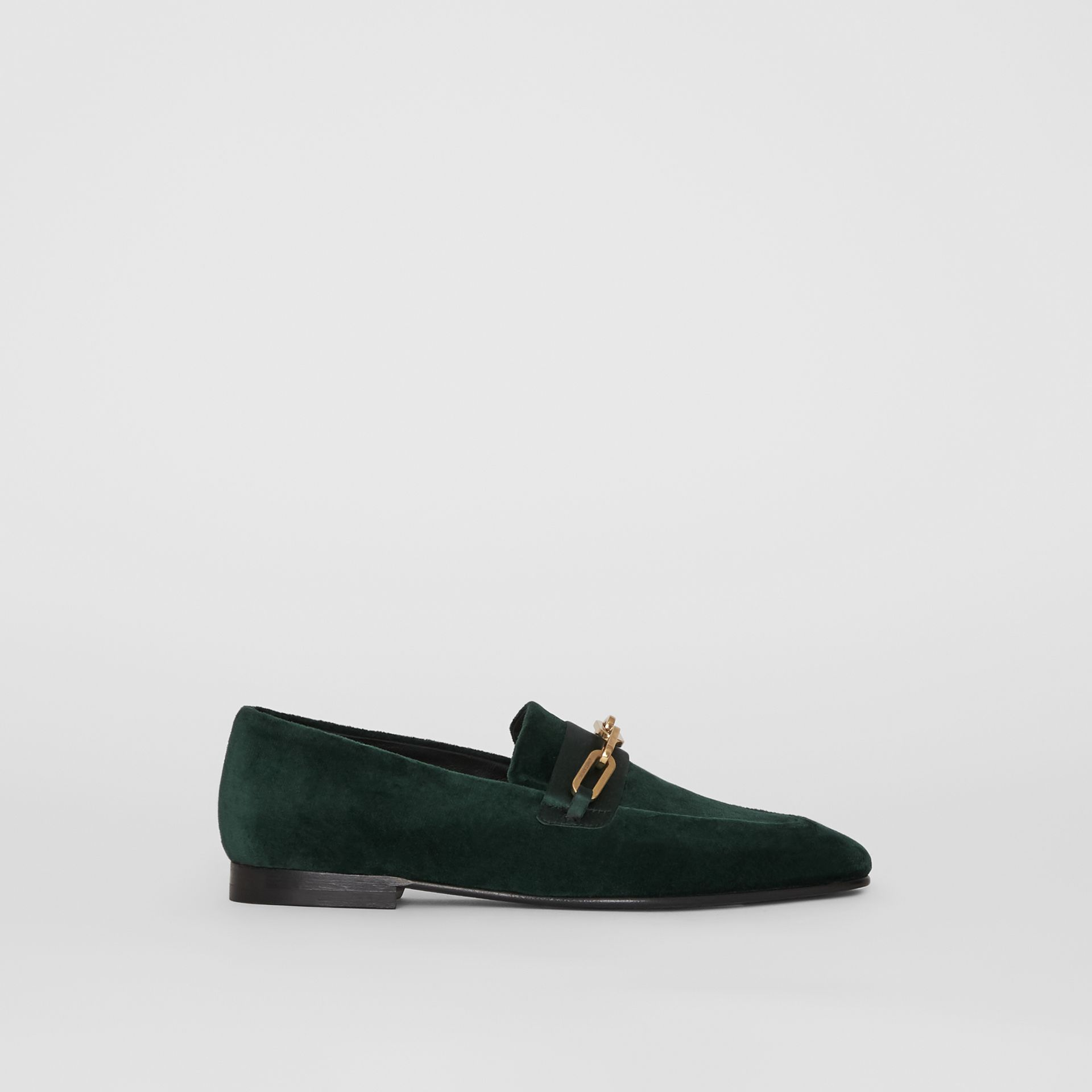 Link Detail Velvet Loafers in Dark Forest Green - Women | Burberry United Kingdom - gallery image 0