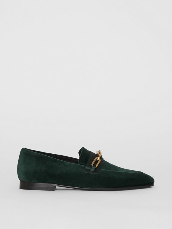Link Detail Velvet Loafers in Dark Forest Green