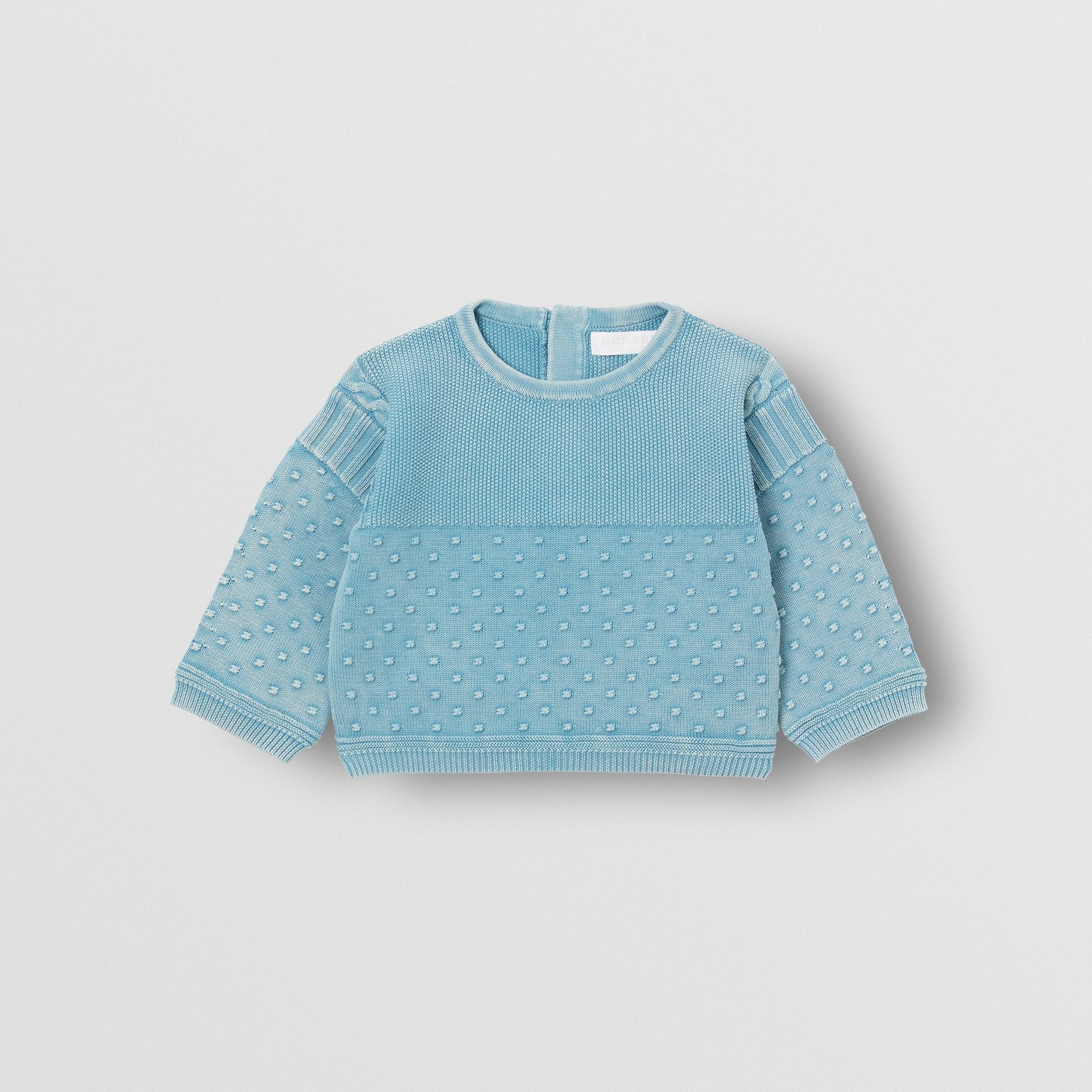 Contrast Knit Cotton Two-piece Baby Gift Set in Opal Blue - Children | Burberry - gallery image 2