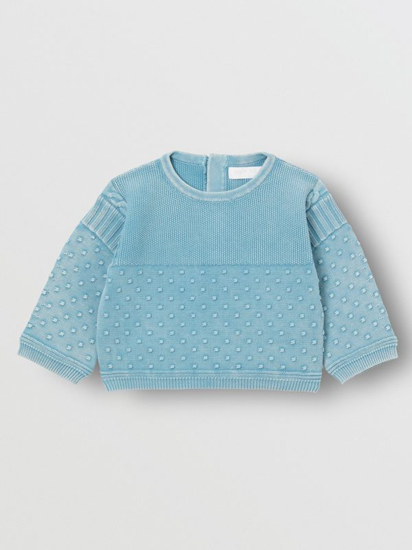 Contrast Knit Cotton Two-piece Baby Gift Set in Opal Blue - Children | Burberry - cell image 2