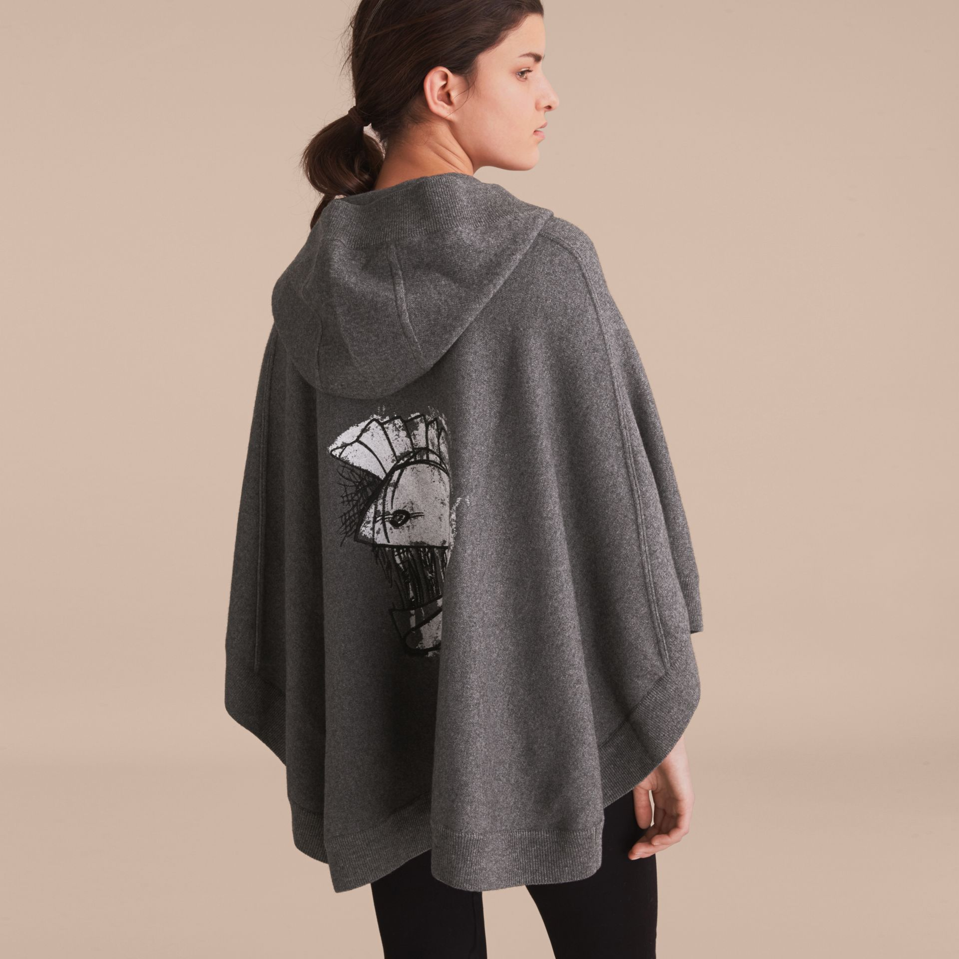 Pallas Helmet Motif Wool Cashmere Hooded Poncho in Mid Grey - Women | Burberry - gallery image 1