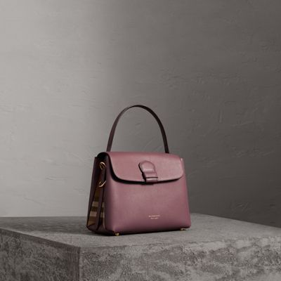 medium grainy leather and house check tote bag in mahogany red women united  kingdom. BURBERRY 74a4f90a5a