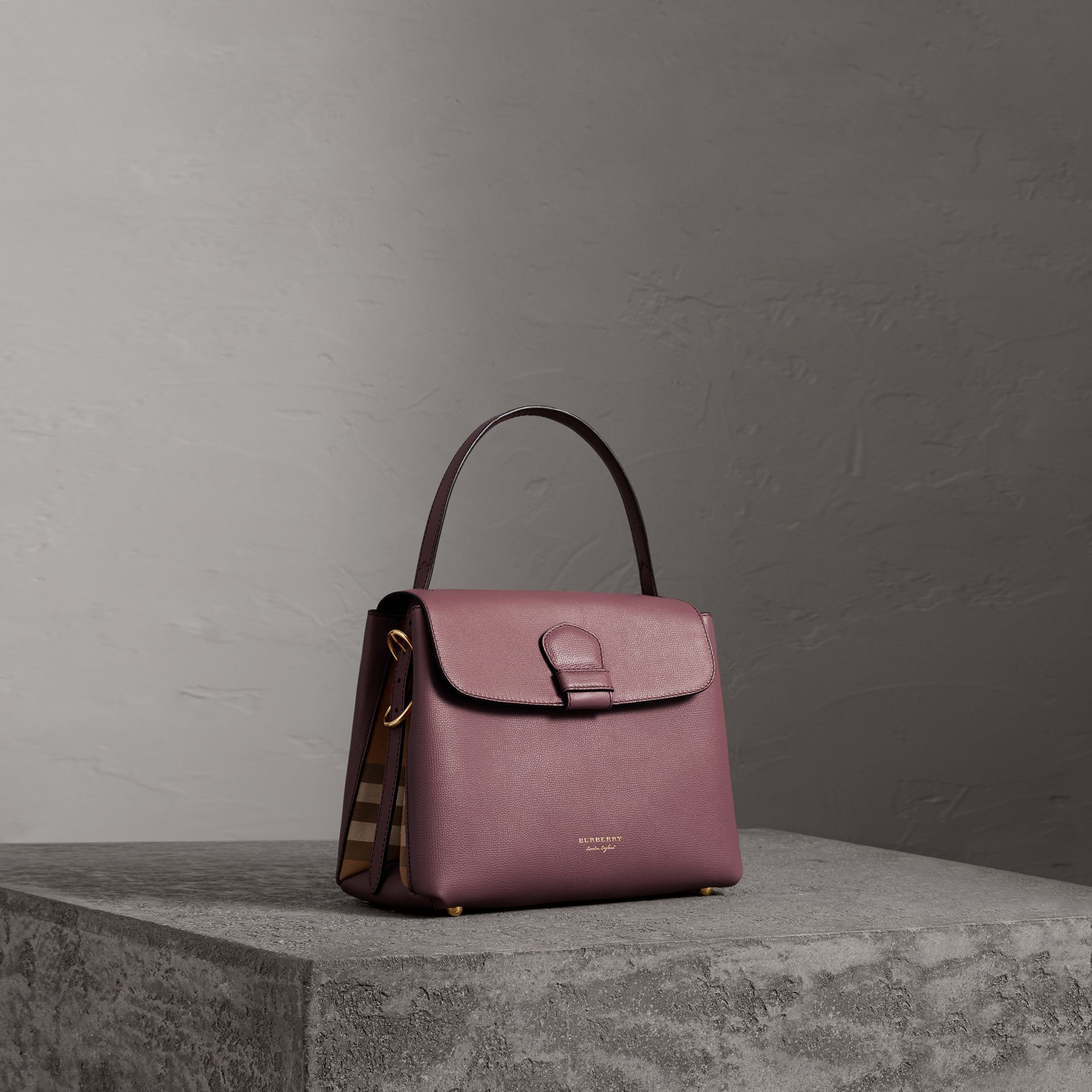 Medium Grainy Leather and House Check Tote Bag in Mahogany Red - Women | Burberry Australia - gallery image 0