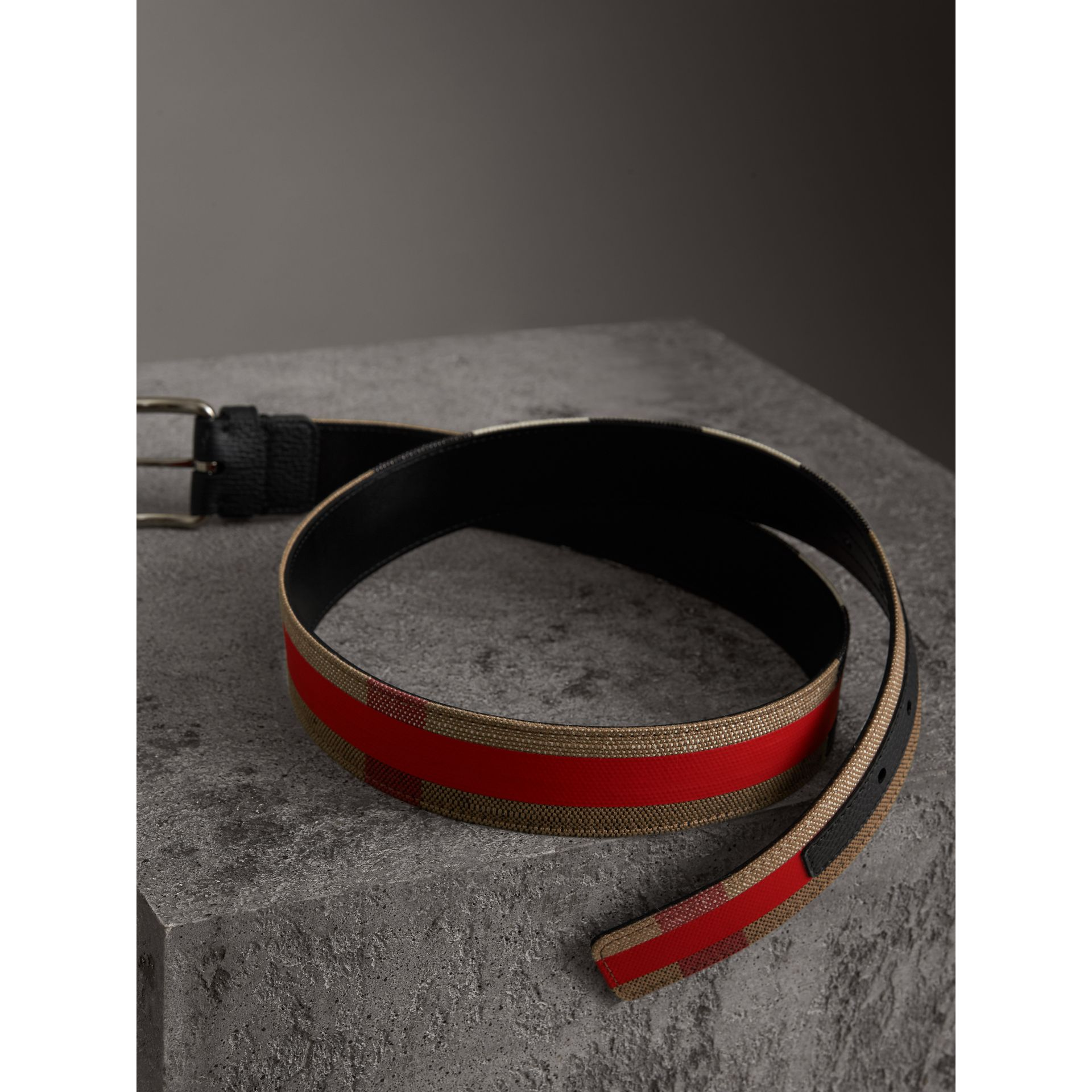 Striped Check Jute Cotton Belt in Military Red - Men | Burberry United Kingdom - gallery image 3
