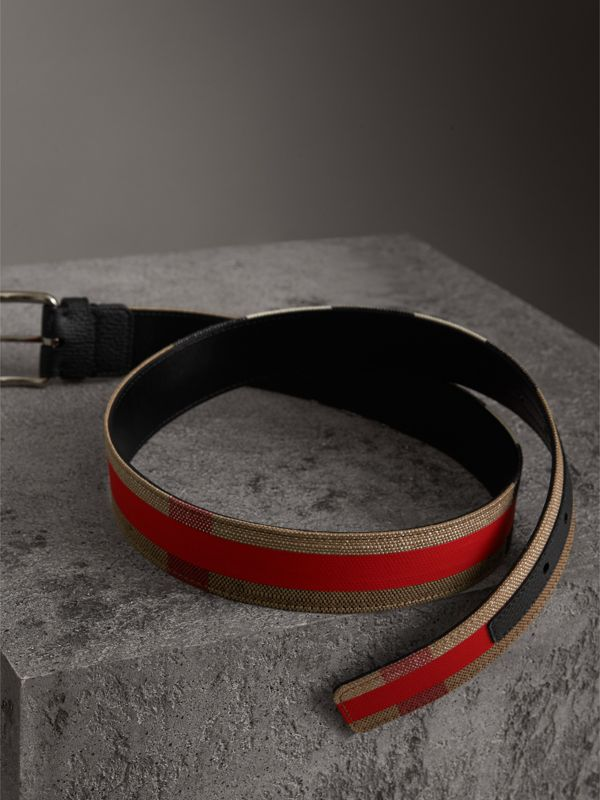 Striped Check Jute Cotton Belt in Military Red - Men | Burberry United Kingdom - cell image 3