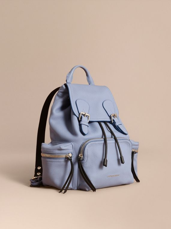 The Medium Rucksack in Deerskin with Resin Chain in Slate Blue