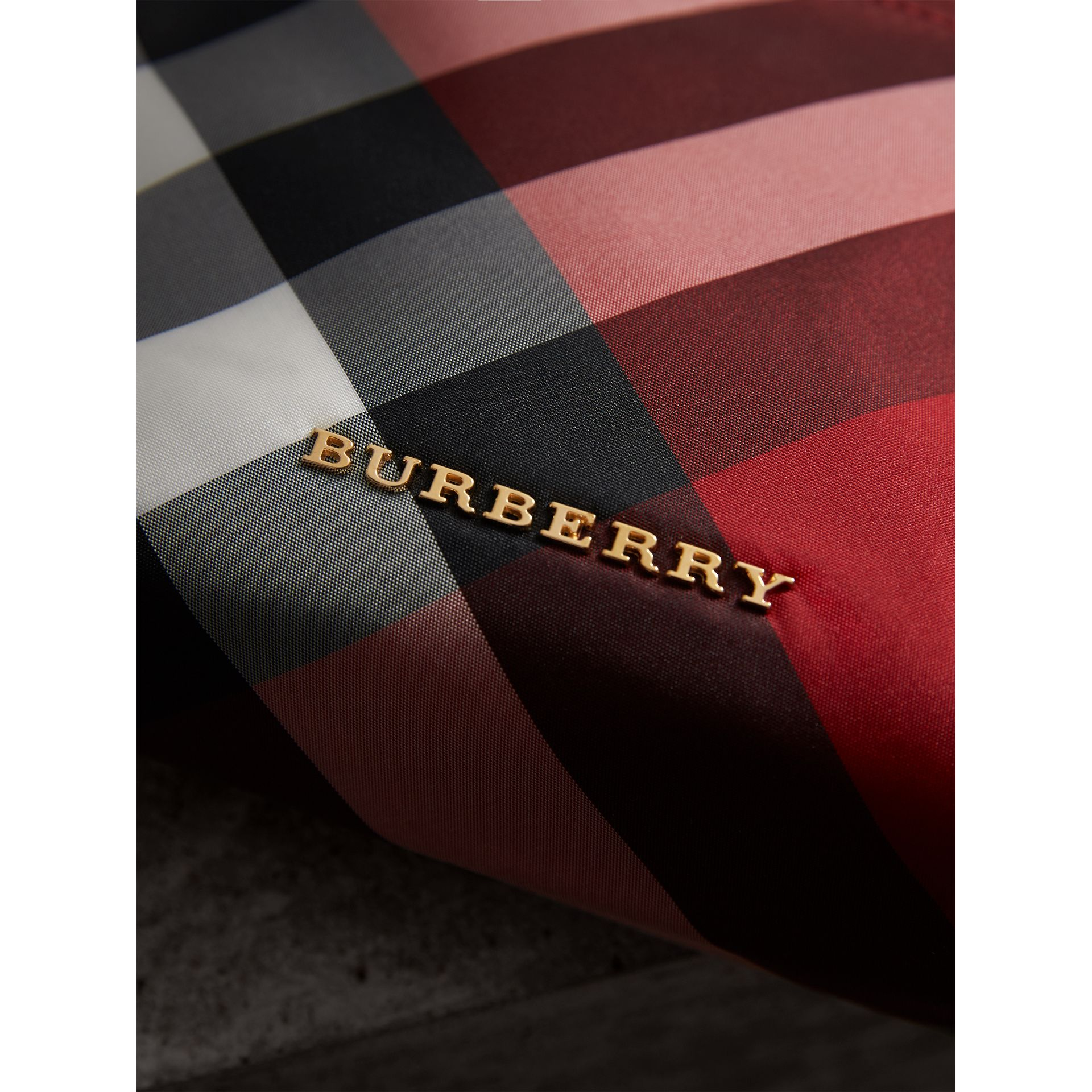 Medium Zip-top Check Technical Pouch in Parade Red - Women | Burberry - gallery image 2