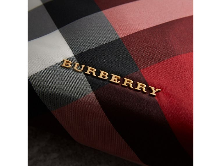 Medium Zip-top Check Technical Pouch in Parade Red - Women | Burberry - cell image 1