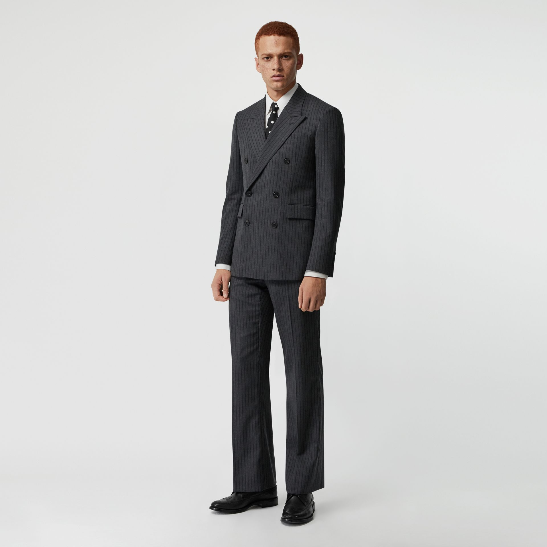 Classic Fit Pinstriped Wool Tailored Trousers in Mid Grey Melange - Men | Burberry United Kingdom - gallery image 0
