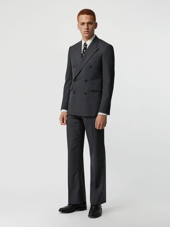 Pantalon de costume classique en laine à fines rayures (Camaïeu  Gris Moyens)