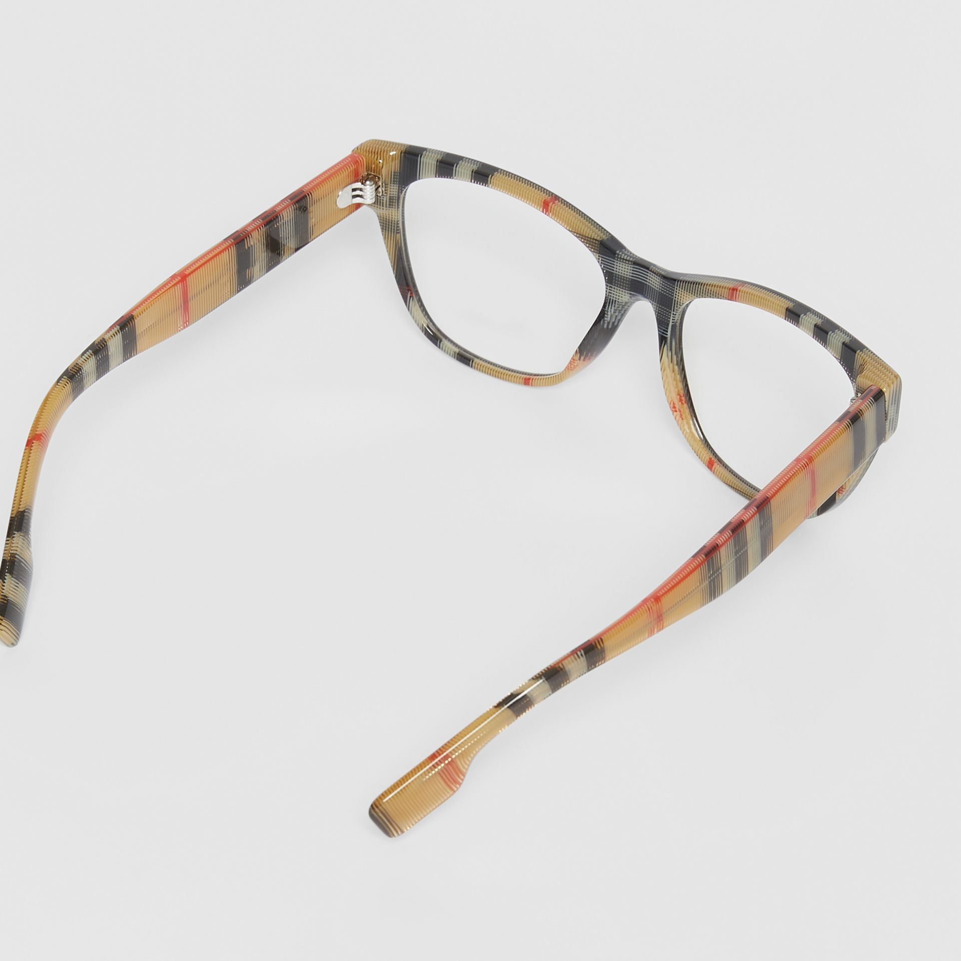 Vintage Check Detail Square Optical Frames in Black/beige - Women | Burberry Canada - gallery image 4