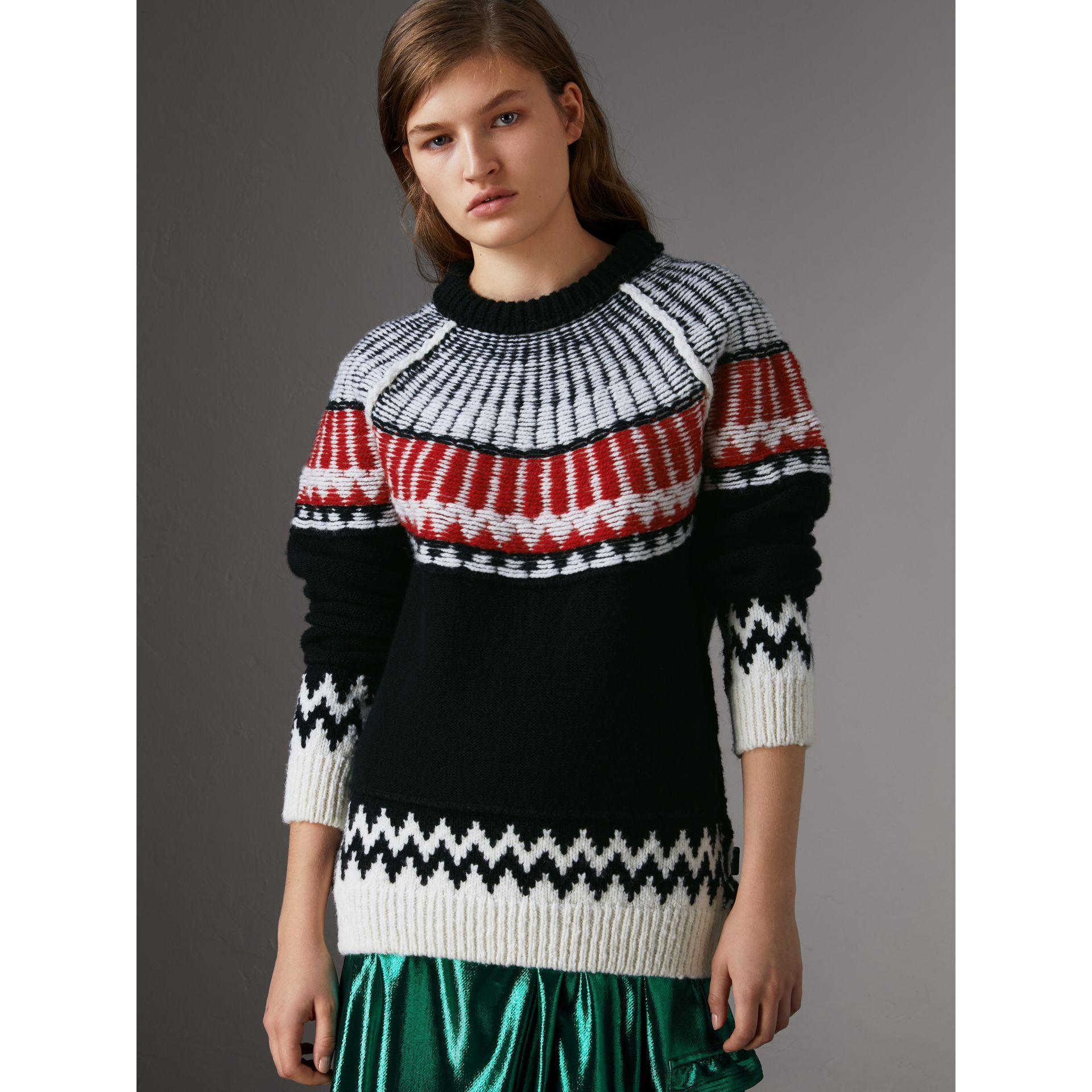 Fair Isle Wool Cashmere Sweater in Black/ Military Red - Women | Burberry - gallery image 0