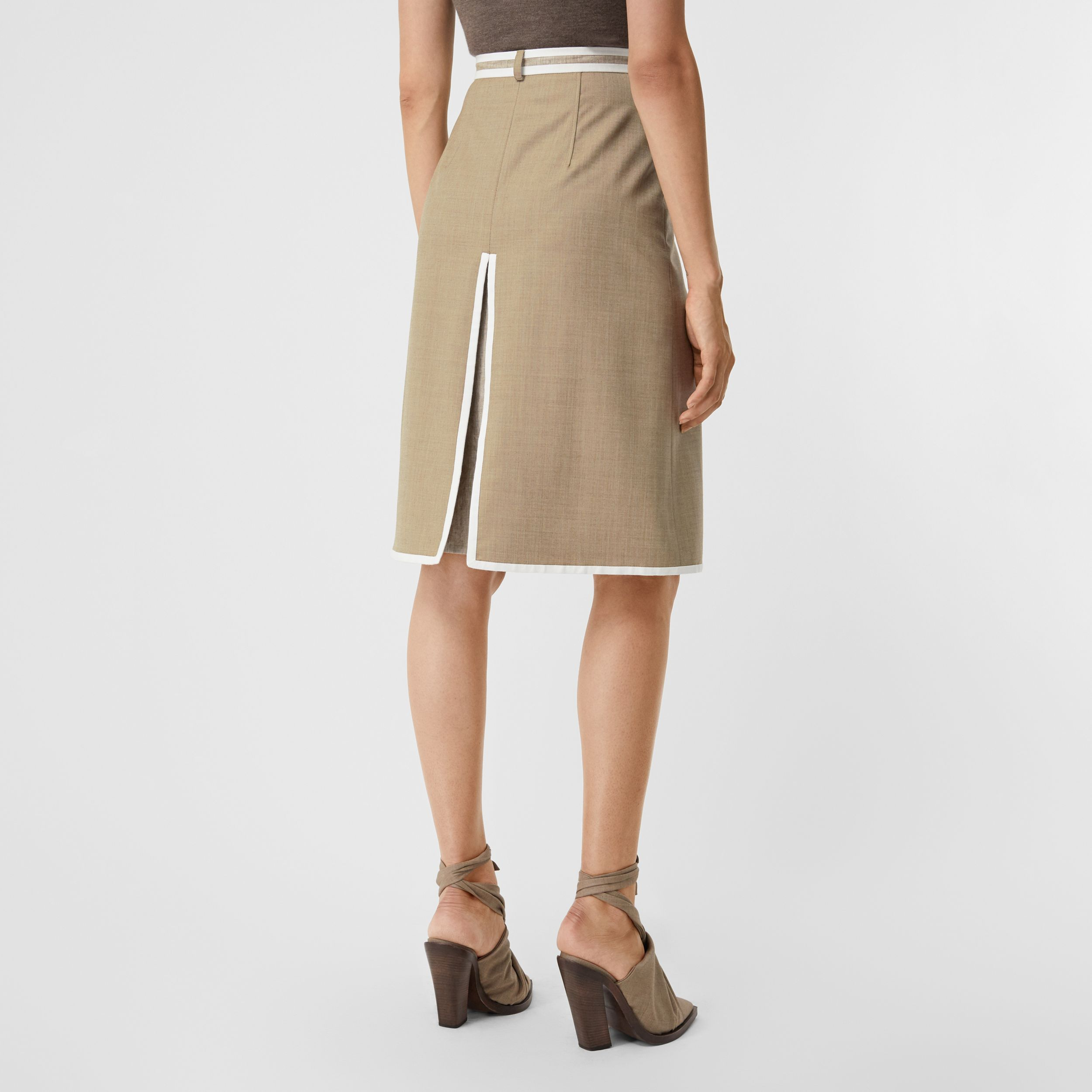 Box-pleat Detail Wool Cashmere A-line Skirt in Pecan Melange - Women | Burberry - 3