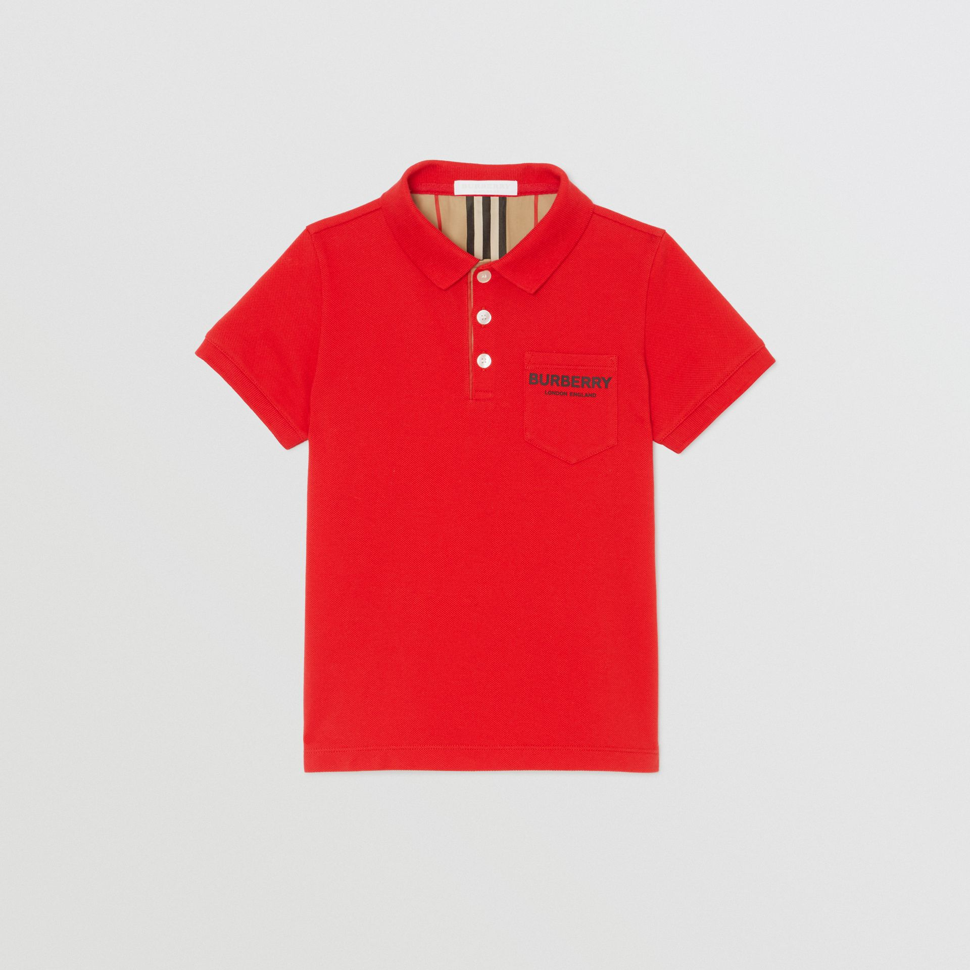 Icon Stripe Placket Cotton Piqué Polo Shirt in Bright Red - Boy | Burberry - gallery image 0
