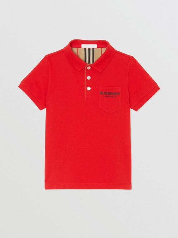 Camisa polo de algodão piquê com tira de botões listrada (Vermelho Intenso)
