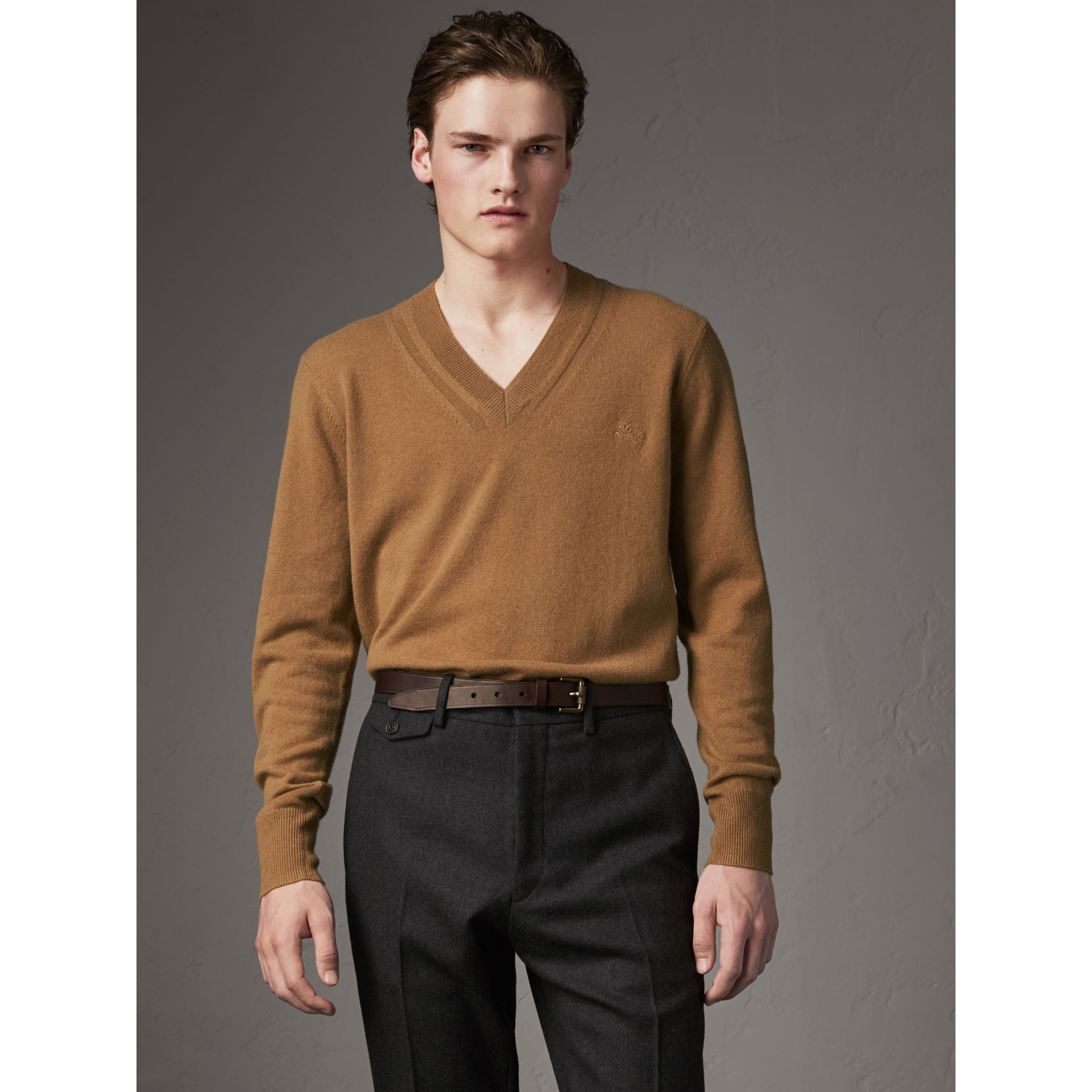 Cashmere V-neck Sweater in Camel - Men | Burberry - gallery image 0
